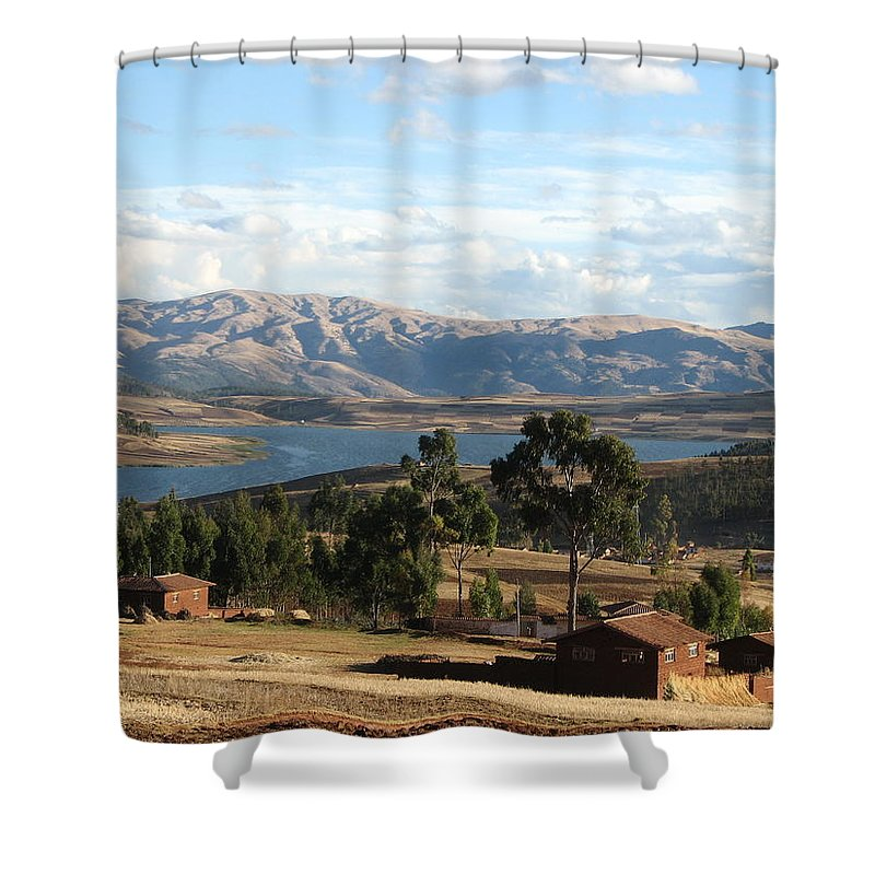 Landscape Shower Curtain featuring the photograph Andes Lake by Sandra Bourret
