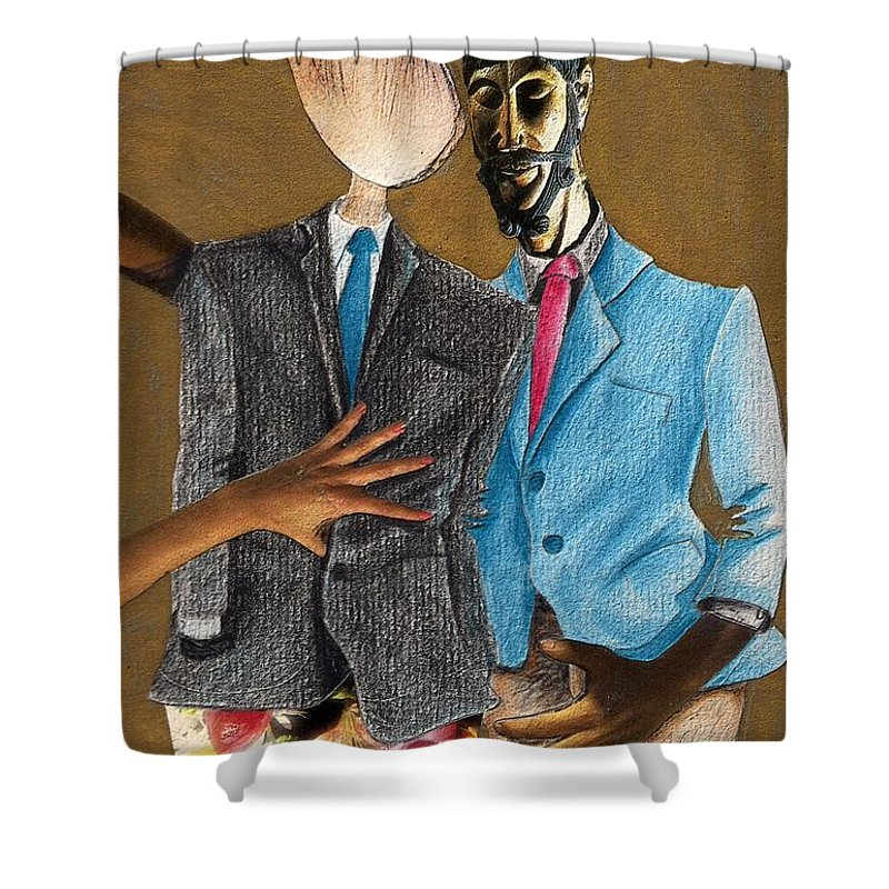 Sex Gay Androginality Couple Love Relation Shower Curtain featuring the mixed media Androginality by Veronica Jackson