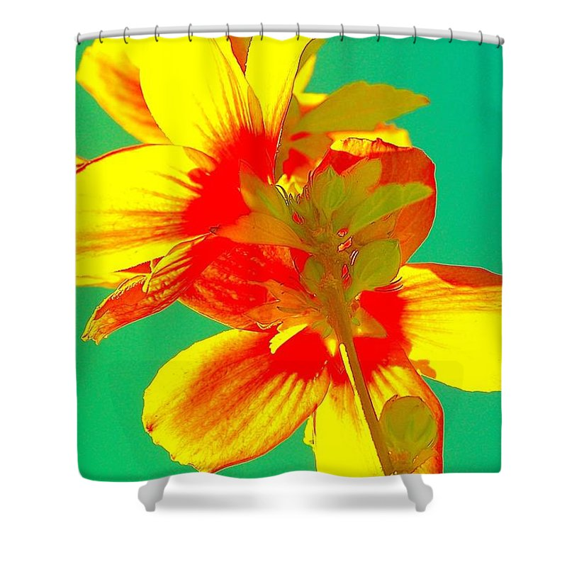 Shower Curtain Featuring The Painting Andy Warhol Inspired Yellow Flower By Filipa Mendes