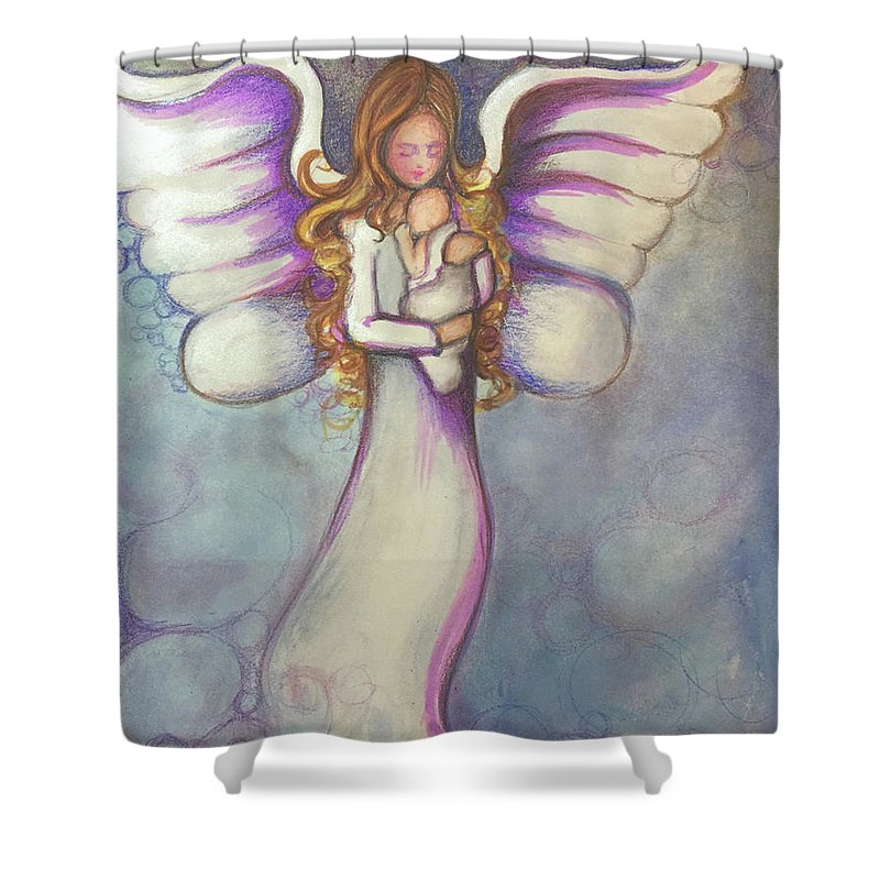 Watercolor Shower Curtain featuring the painting Angel And Baby by Noel Cole