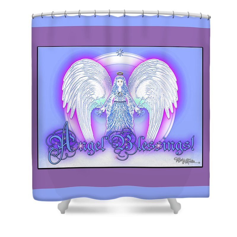 Inspiration Shower Curtain featuring the digital art Angel Blessings #196 by Barbara Tristan