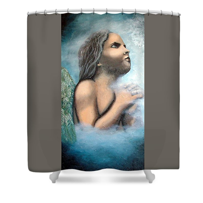 Angel Shower Curtain featuring the painting Angel Of Faith by Elizabeth Lisy Figueroa