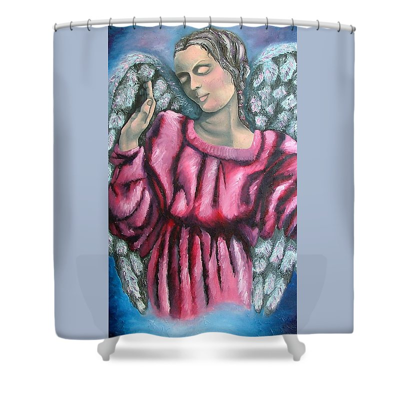 Angel Shower Curtain featuring the painting Angel Of Hope by Elizabeth Lisy Figueroa