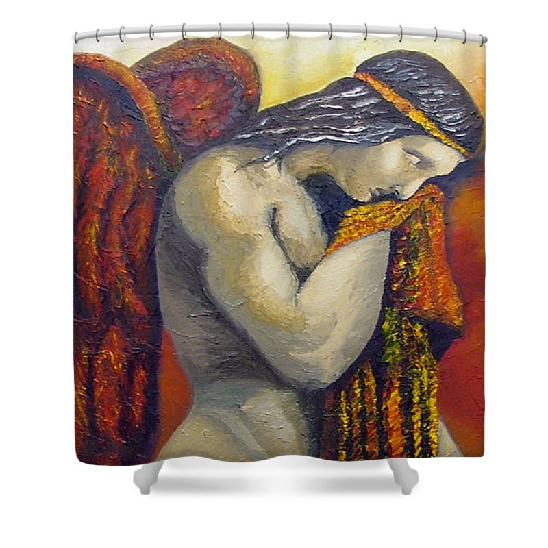 Angel Shower Curtain featuring the painting Angel Of Love by Elizabeth Lisy Figueroa