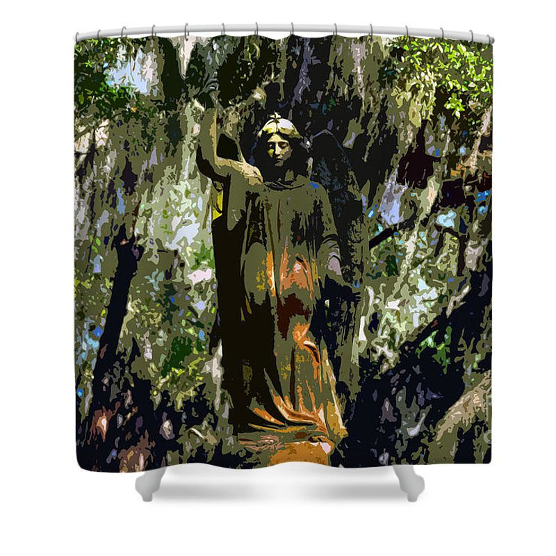 Angel Shower Curtain featuring the painting Angel Of Savannah by David Lee Thompson