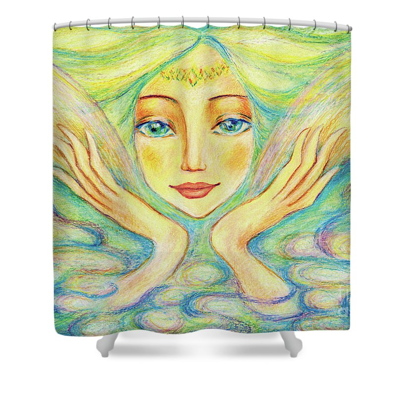 Angel Woman Shower Curtain featuring the painting Angel Of Serenity by Eva Campbell