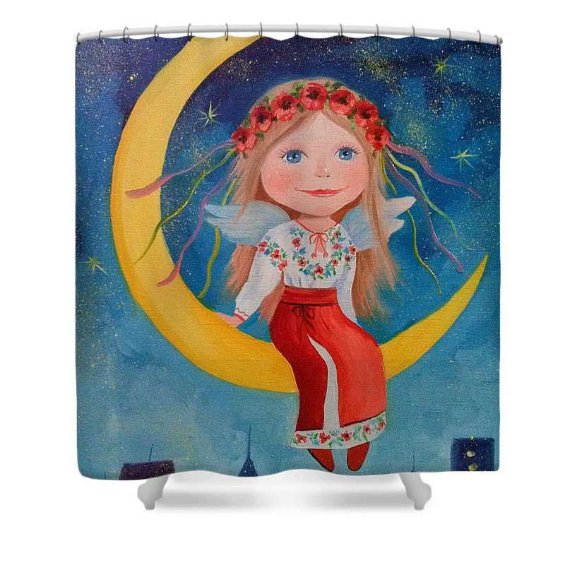 Angel Shower Curtain featuring the painting Angel by Olha Darchuk