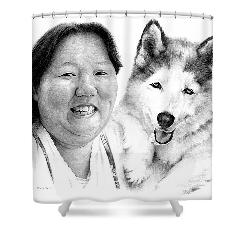 Portrait Shower Curtain featuring the drawing Angel On My Shoulder by Rachel Christine Nowicki
