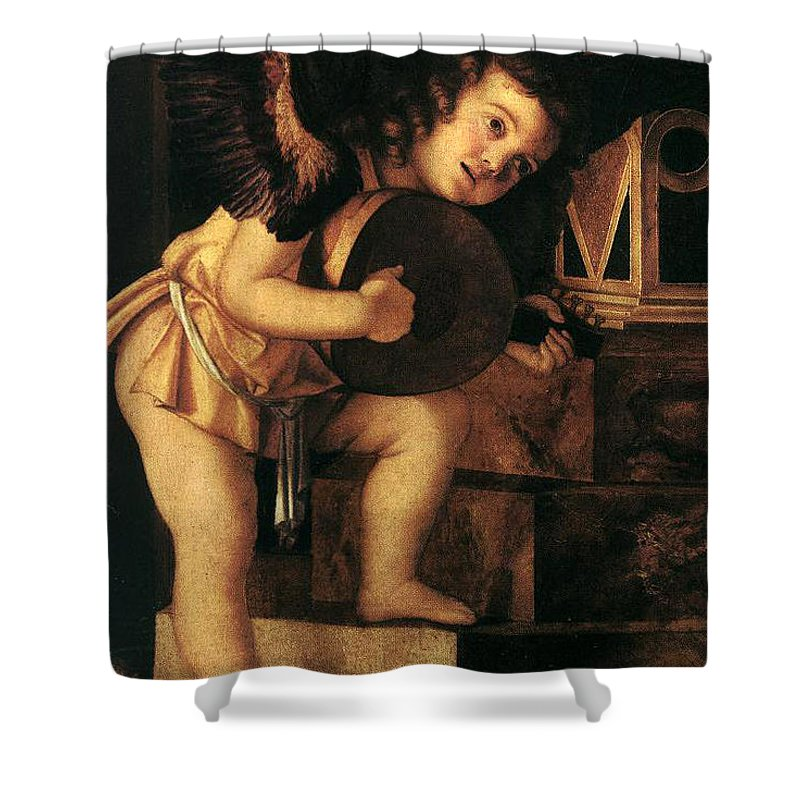 Angel Shower Curtain featuring the painting Angel Playing Music by Munir Alawi