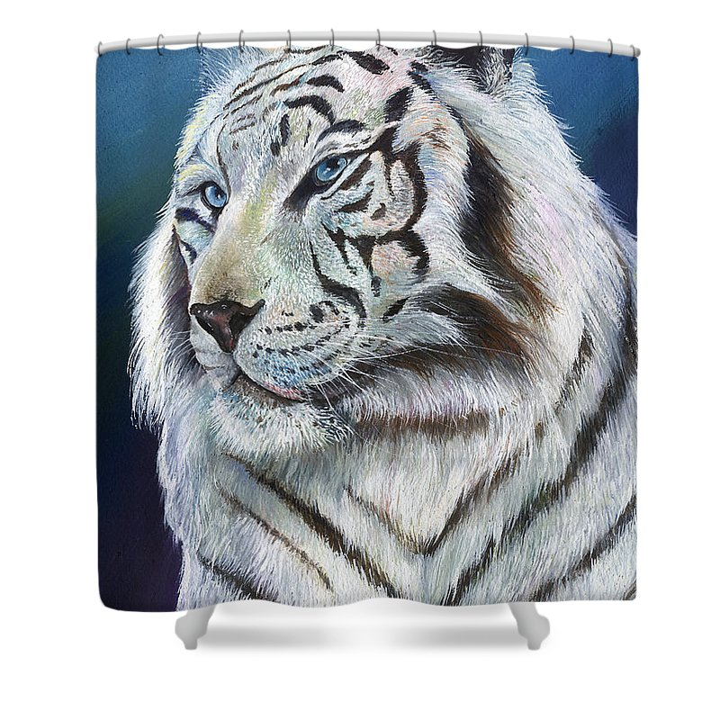 Big Cat Shower Curtain featuring the painting Angel The White Tiger by Sherry Shipley