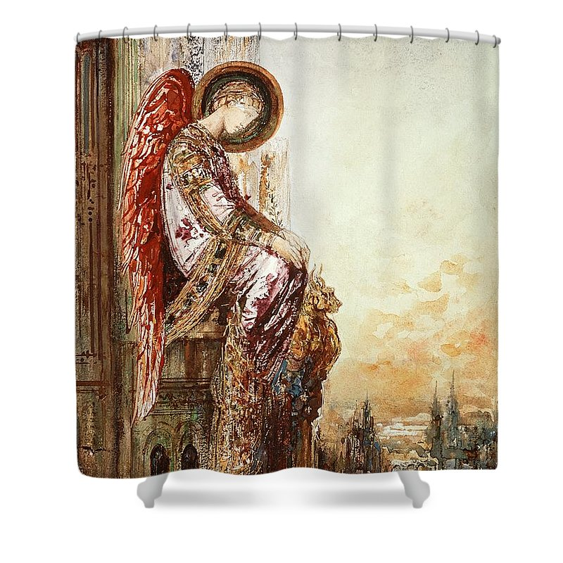 Watercolor Shower Curtain featuring the painting Angel Traveller by Gustave Moreau