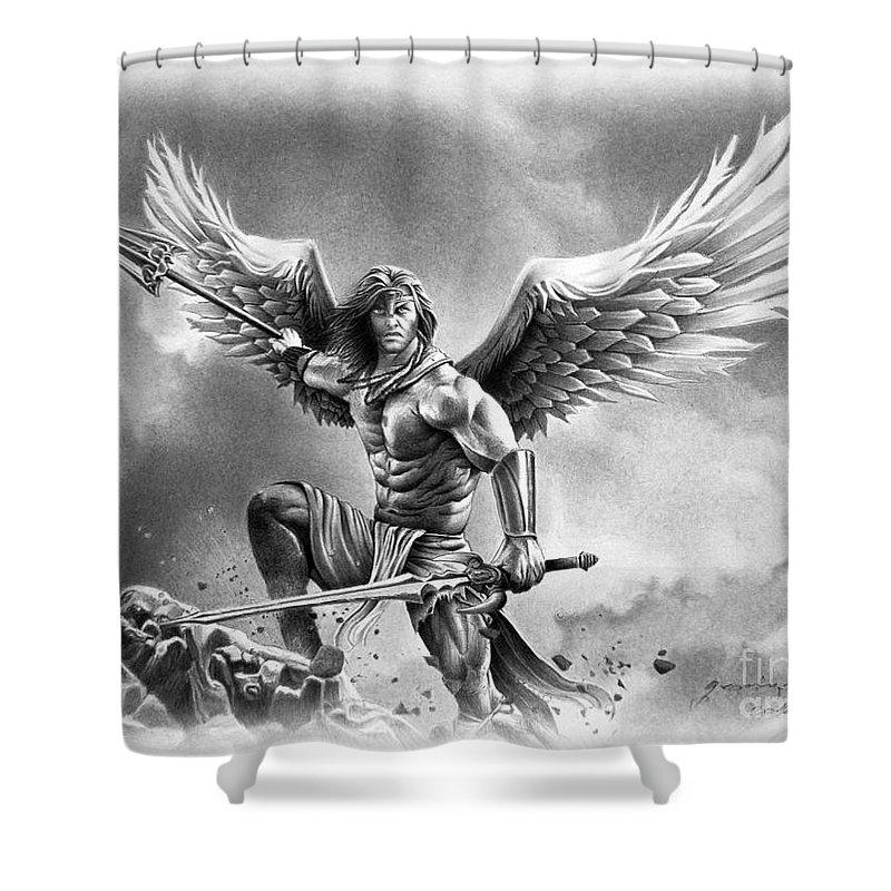angel warrior shower curtain for sale by miro gradinscak