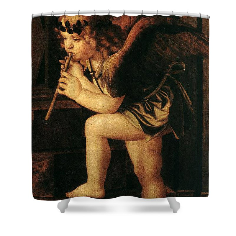 Angel Shower Curtain featuring the painting Angel2 by Munir Alawi
