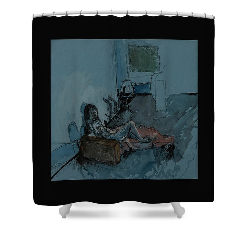 Angela Shower Curtain featuring the mixed media Angela by Lynne Guess