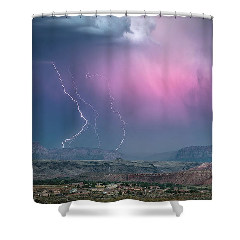 Lightning Shower Curtain featuring the photograph Angelic Fury by Brad Hancock