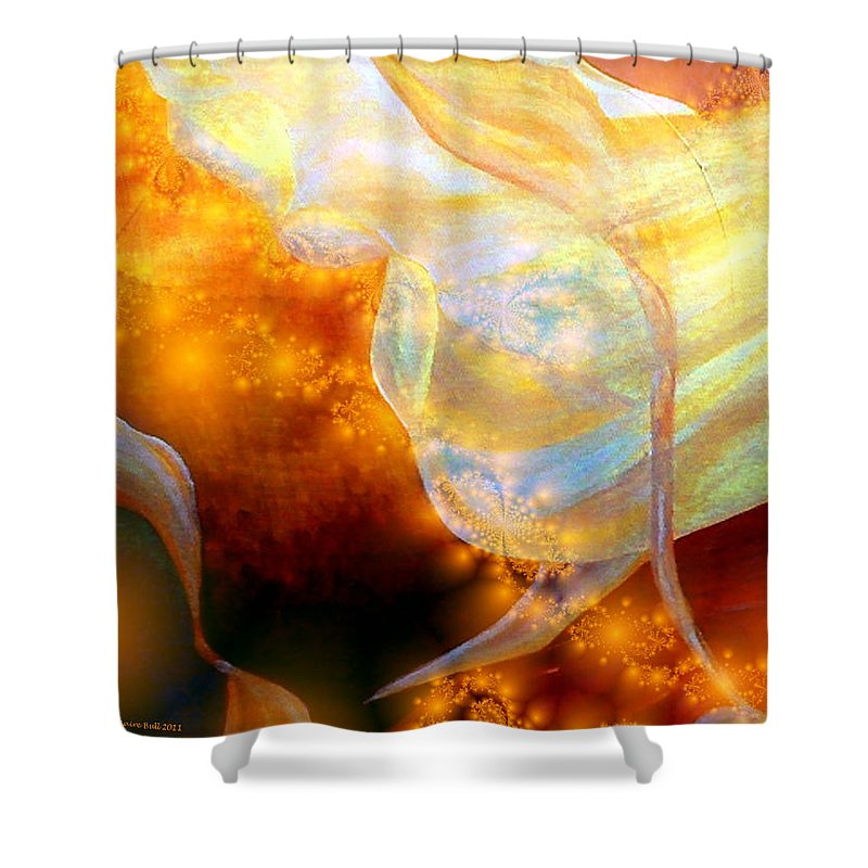 Abstract Shower Curtain featuring the digital art Angels Among Us by Claire Bull