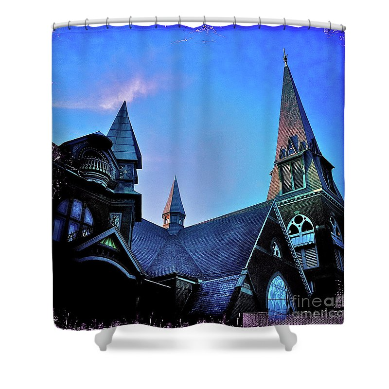 Steeples Shower Curtain featuring the photograph Angels Among Us - The Three Sisters by Kevyn Bashore
