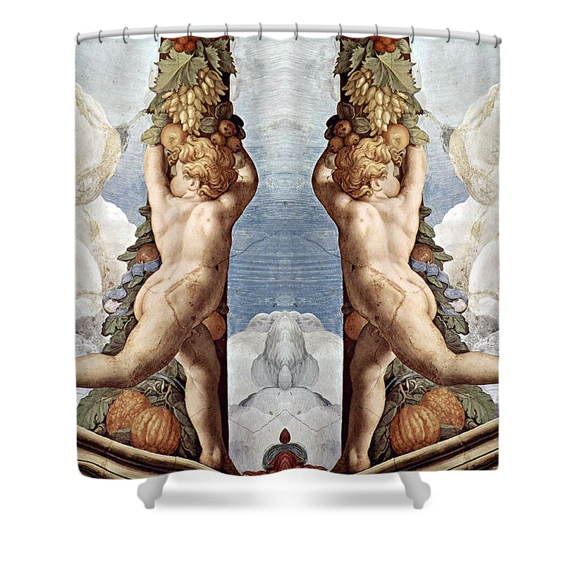 Angels Shower Curtain featuring the photograph Angels And Fruits by Munir Alawi