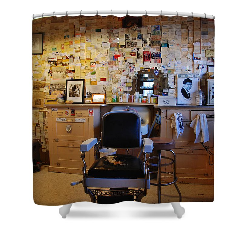 Barber Shop Shower Curtain featuring the photograph Angel's Barber Shop On Route 66 by Susanne Van Hulst