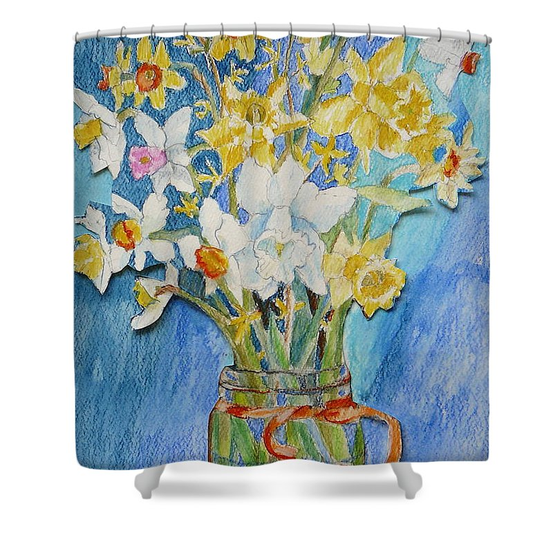 Flowers Shower Curtain featuring the painting Angels Flowers by Jan Bennicoff