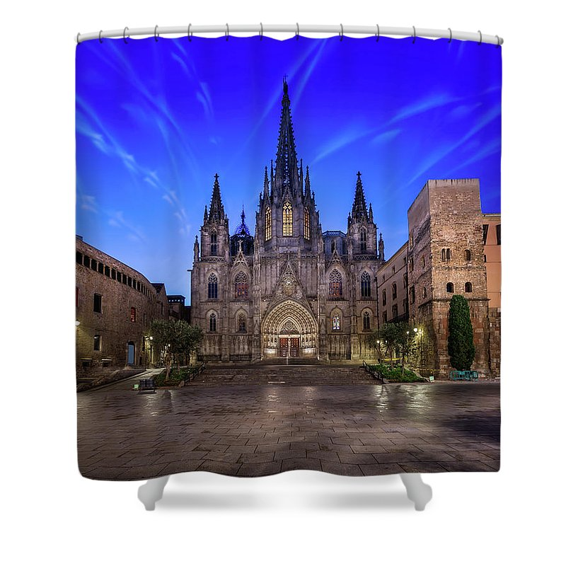 Ancient Shower Curtain featuring the photograph Angels Flying In Front Of The Cathedral Of The Holy Cross And Sa by Andrey Omelyanchuk