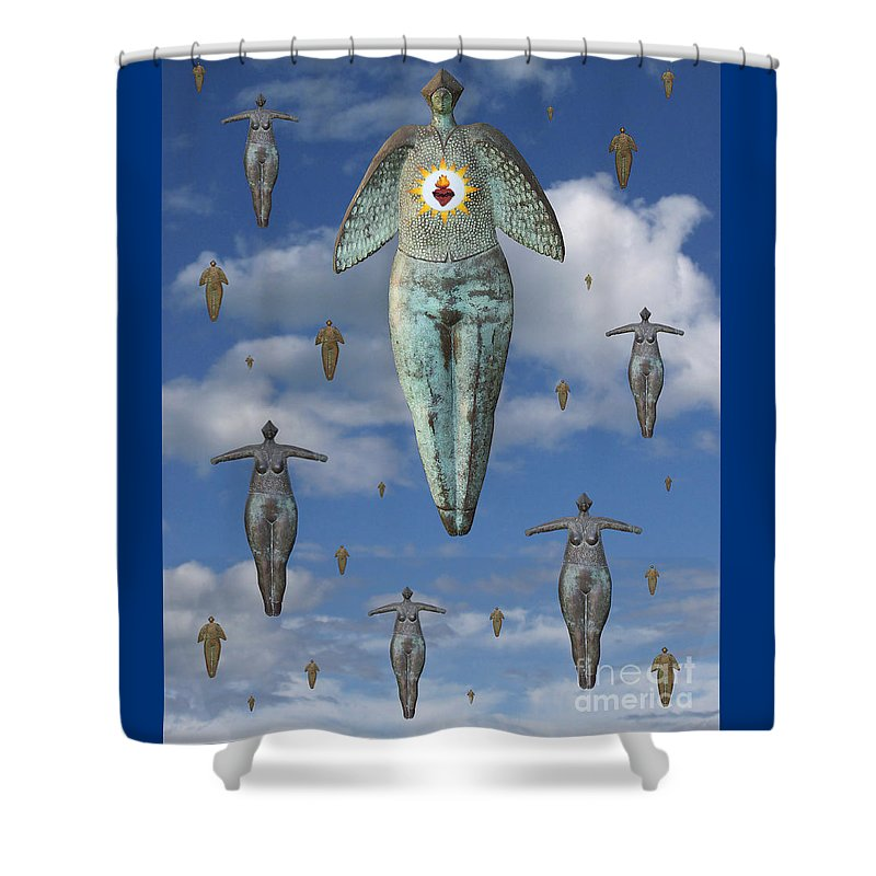 Digital Art Shower Curtain featuring the digital art Angels Of Quebec by Keith Dillon