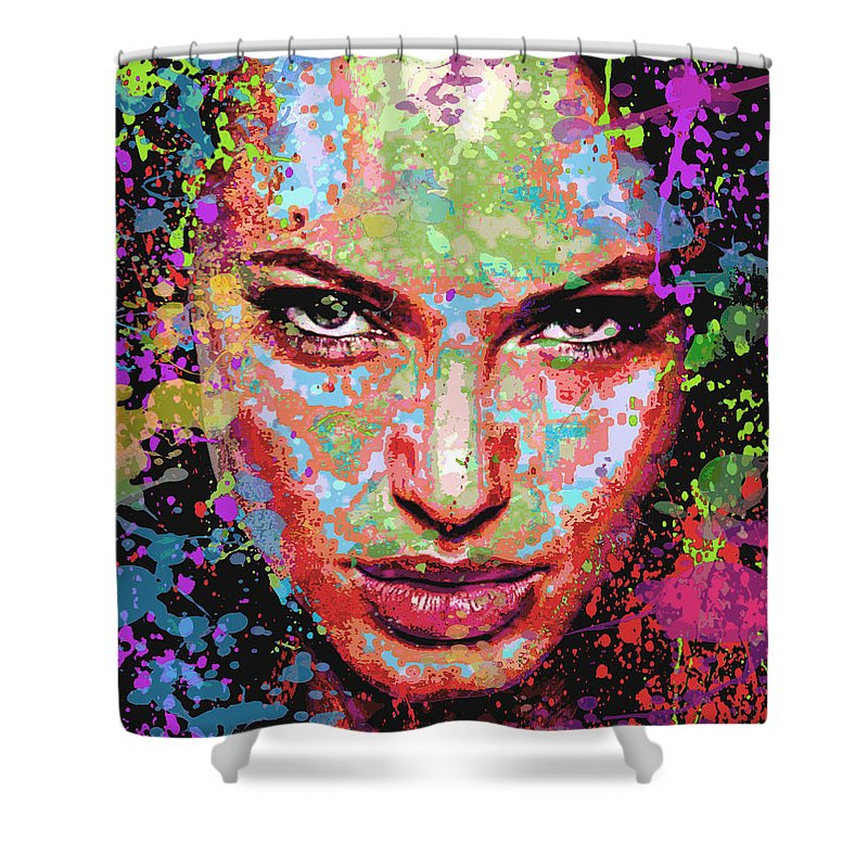 Angelina Jolie Pitt Shower Curtain featuring the digital art Angie by Maria Arango