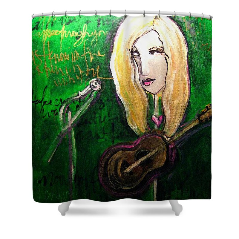 Green Shower Curtain featuring the painting Angie Stevens Solo by Laurie Maves ART