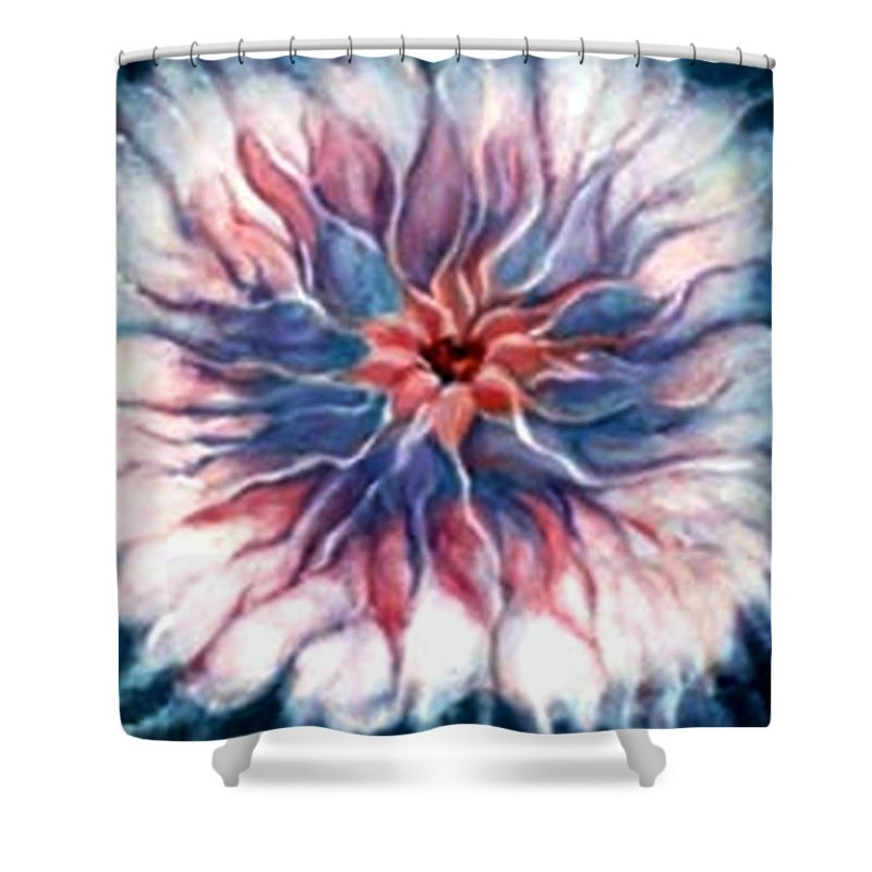 Abstract Flowerpink Art Wrok Shower Curtain featuring the painting Angora Bloom by Jordana Sands
