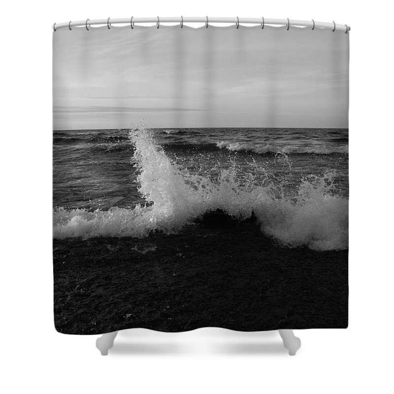Pure Shower Curtain featuring the photograph Angry Lake by Two Bridges North