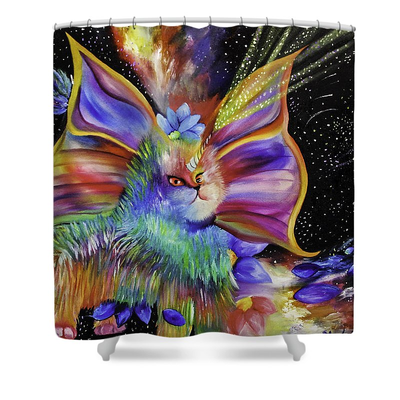 Cat Shower Curtain Featuring The Painting Angry Unicorn Space Kitty By Stephanie Koenig