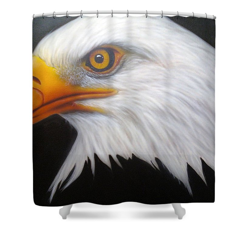 Airbrush Shower Curtain featuring the painting Animal- Eagle by Shawn Palek