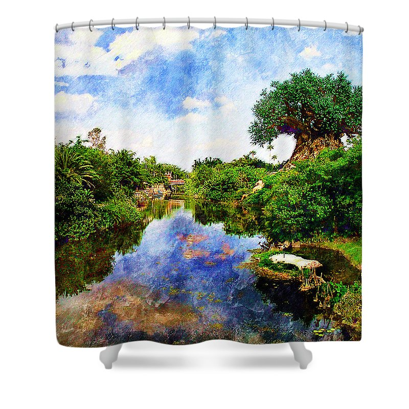 Landscape Shower Curtain featuring the digital art Animal Kingdom Tranquility by Sandy MacGowan