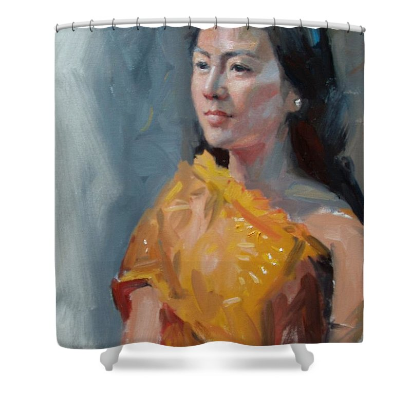 Portrait Shower Curtain featuring the painting Anna by Dianne Panarelli Miller