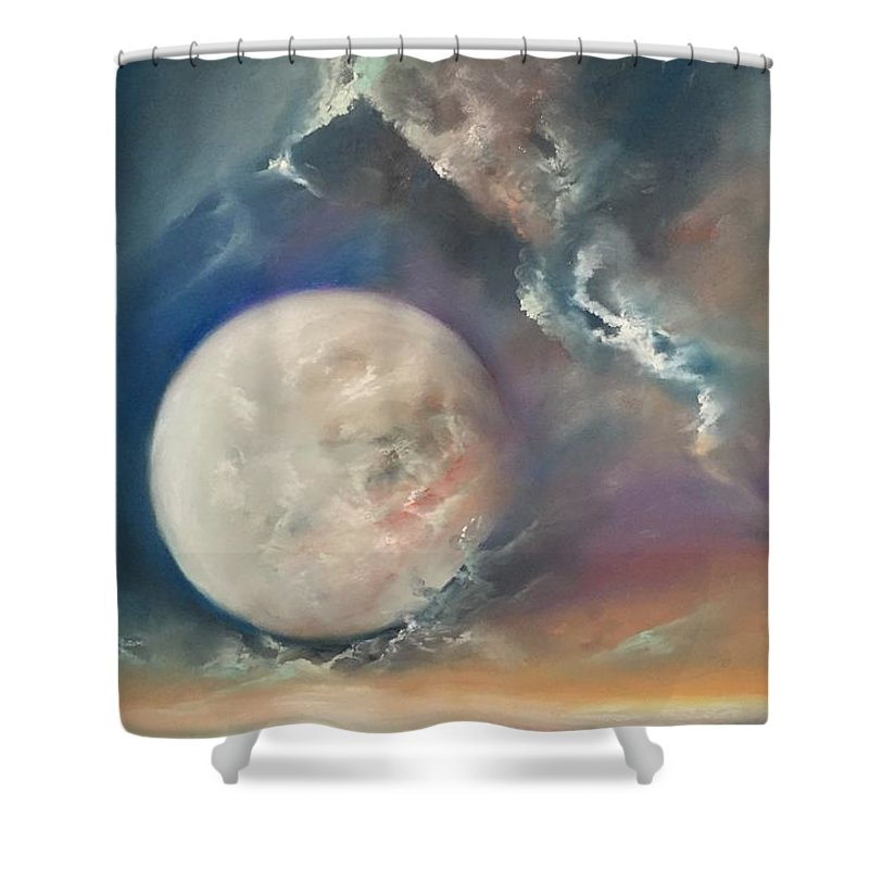 Pastel Shower Curtain featuring the pastel Anna Maria Moonset by Lex Halakan