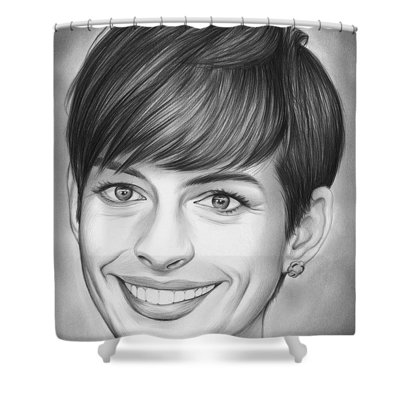 Celebrity Shower Curtain Featuring The Drawing Anne Hathaway By Greg Joens