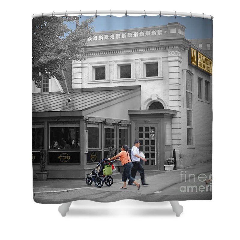 Anne Shower Curtain featuring the photograph Annies Paramount Steak House by Jost Houk