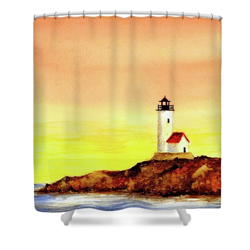 Lighthouse Shower Curtain featuring the painting Annisquam Harbor Lighthouse - Summer Scene by Michael Vigliotti