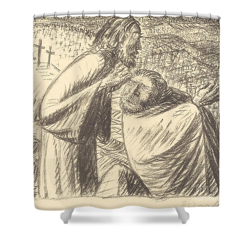 Shower Curtain featuring the drawing Anno Domini Mcmxvi Post Christum Natum by Ernst Barlach