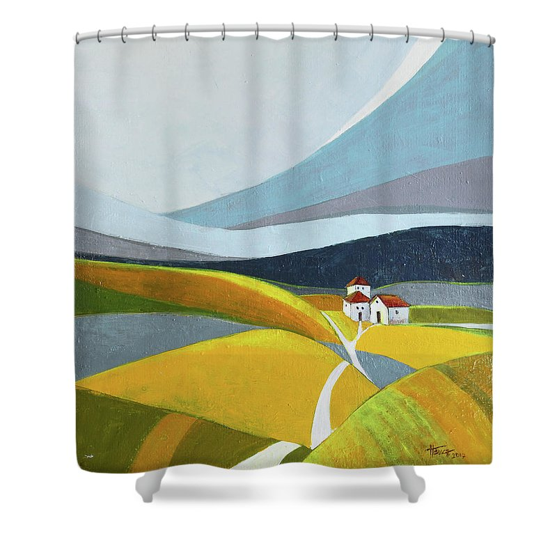 Landscape Shower Curtain featuring the painting Another Day On The Farm by Aniko Hencz