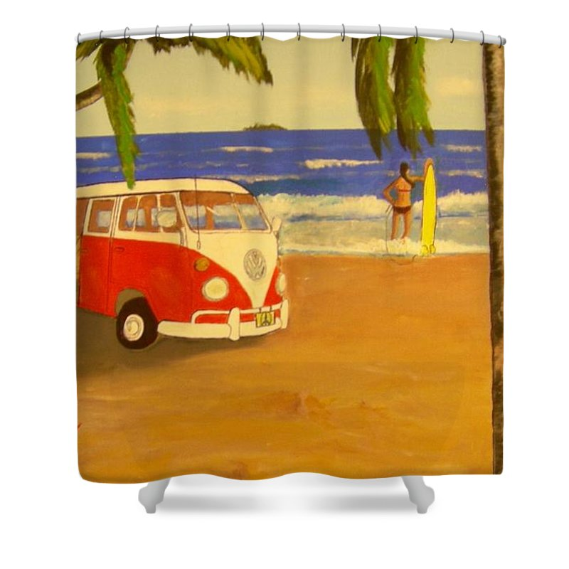 Vw Minibus Shower Curtain featuring the painting Another Groovy Beach Weekend by David Earl Tucker