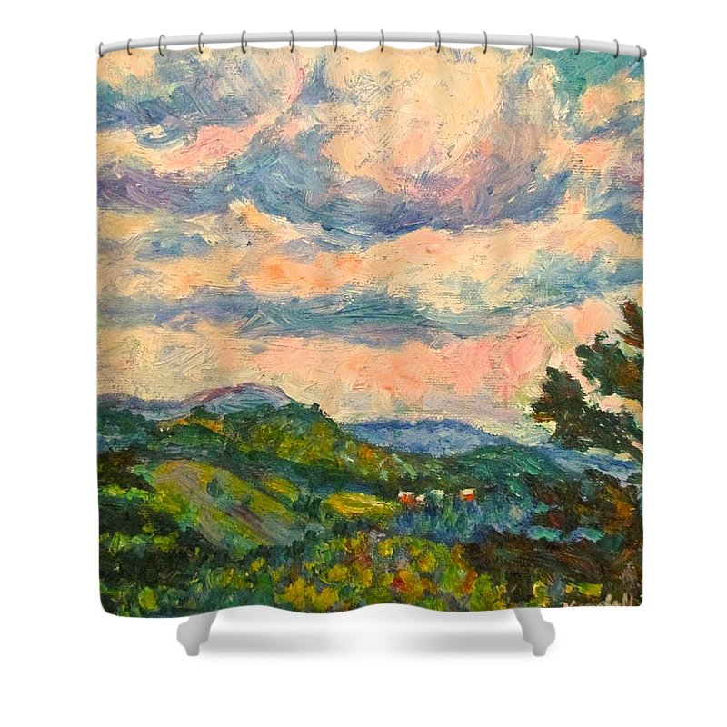 Landscape Paintings Shower Curtain featuring the painting Another Rocky Knob by Kendall Kessler