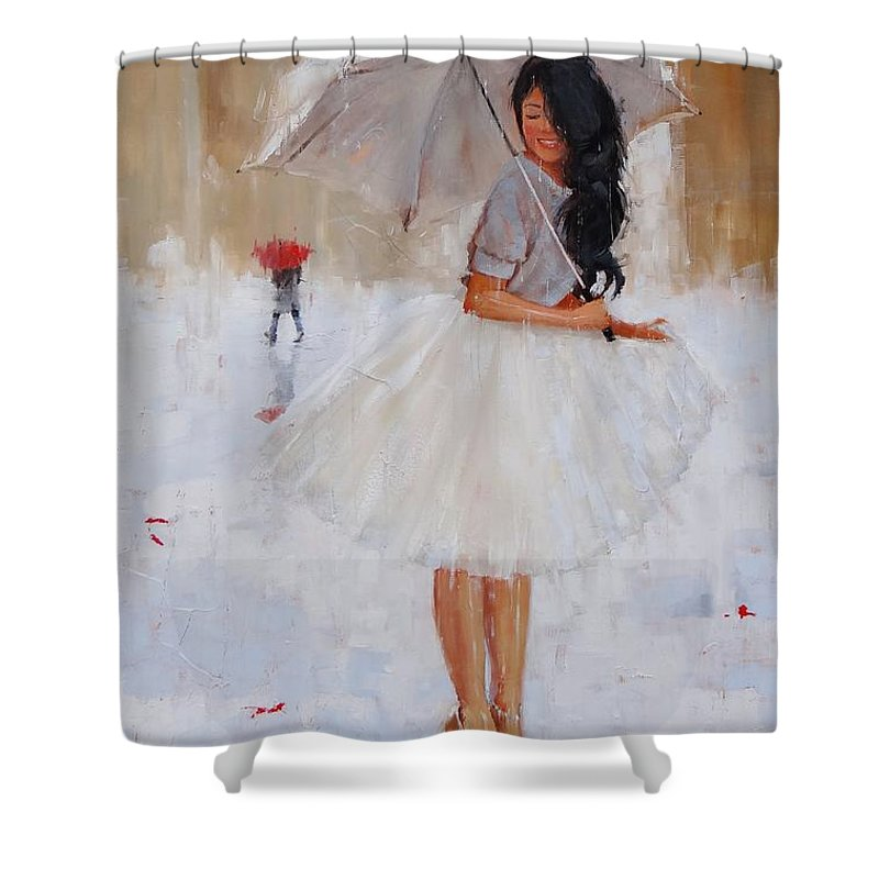 Umbrella Shower Curtain Featuring The Painting Another Splash By Laura Lee Zanghetti