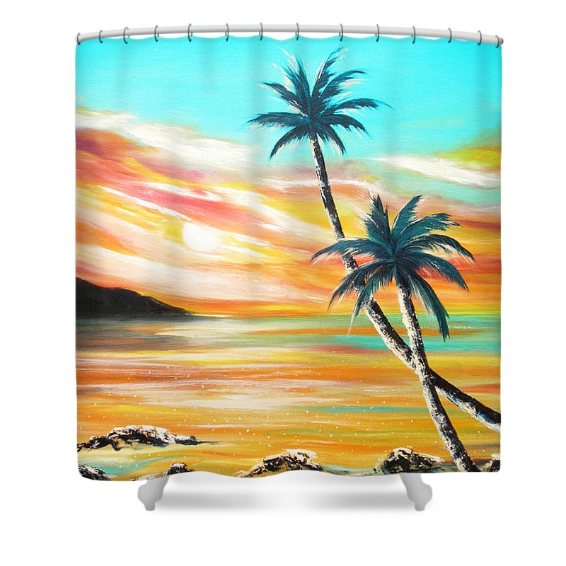 Sunset Shower Curtain featuring the painting Another Sunset In Paradise by Gina De Gorna