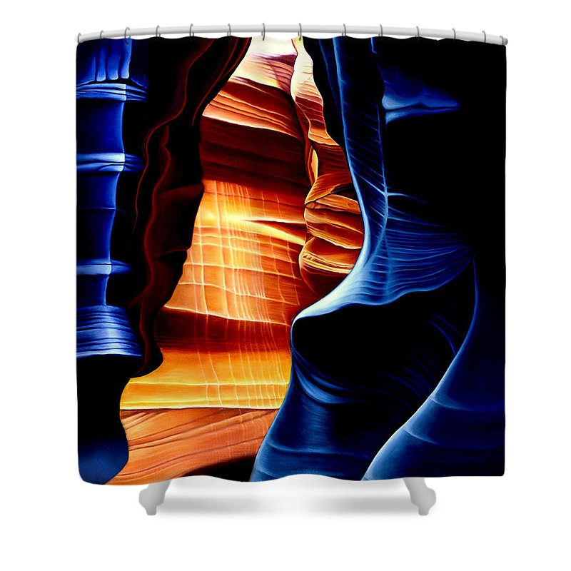 Landscape Shower Curtain featuring the painting Antelope Canyon by Anni Adkins