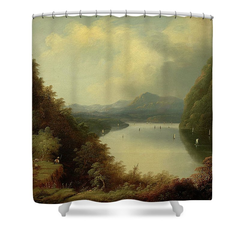 Anthony�s Nose Shower Curtain featuring the painting Anthony Nose by MotionAge Designs