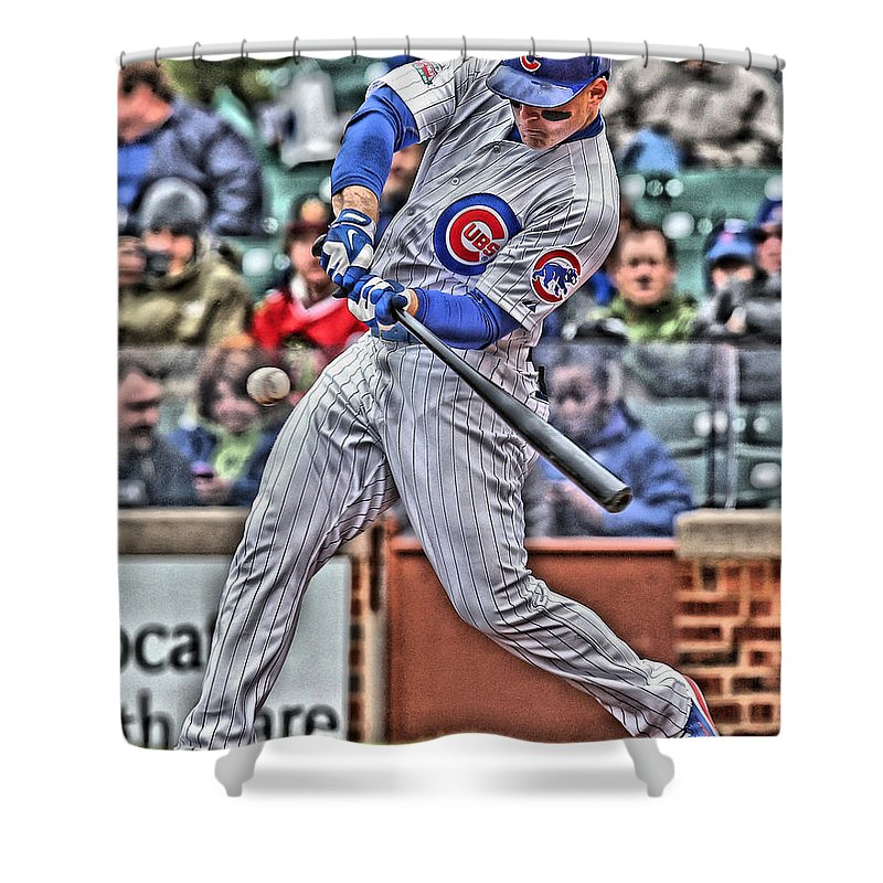 Anthony Rizzo Shower Curtain Featuring The Painting Chicago Cubs By Joe Hamilton