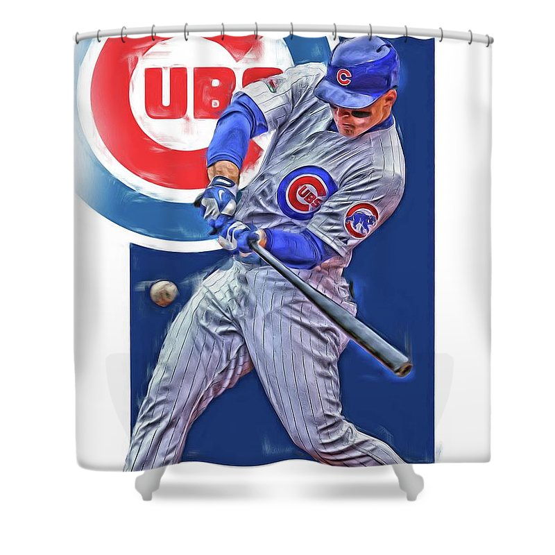 Anthony Rizzo Chicago Cubs Oil Art Shower Curtain For Sale By Joe