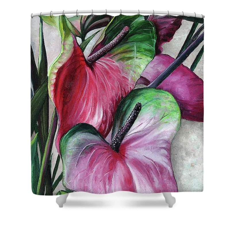 Anthuriums Lilies Shower Curtain featuring the painting Anthuriums					 by Karin Dawn Kelshall- Best
