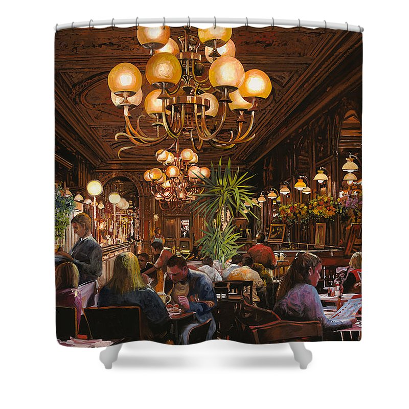 Brasserie Shower Curtain featuring the painting Antica Brasserie by Guido Borelli